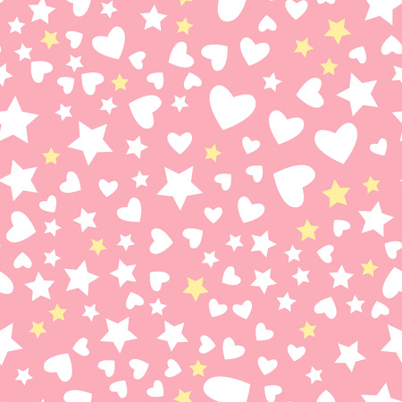 Vector white star and heart seamless pattern Isolated on pink background. Textile Design for baby shower