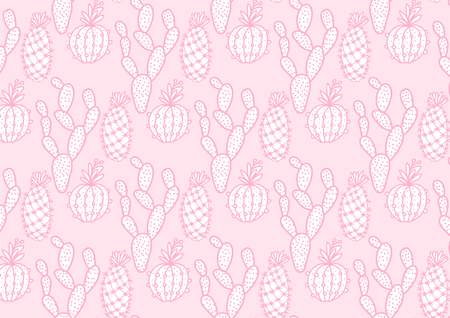 Cute cactus hand drawing wide card. Vector illustration cacti isolated on pink background. Stock Photo