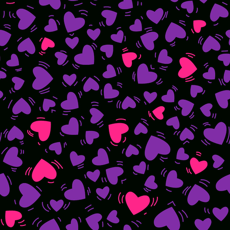 Vector purple and pink heart hand drawn seamless pattern Isolated on black background. Illustration