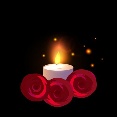 One Candle with red roses. Vector illustration isolated on a black background.