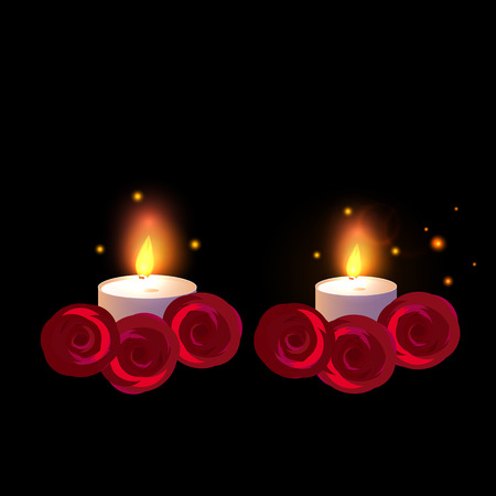 Two Candle with red roses. Vector illustration isolated on a black background.