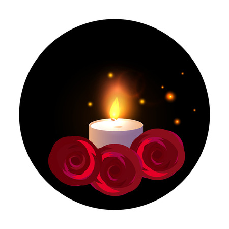 One Candle with red roses. Vector illustration isolated on black round, sticker background.