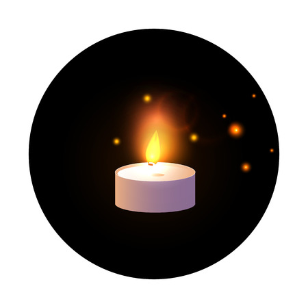 One Candle. Vector illustration isolated on black round, sticker background.