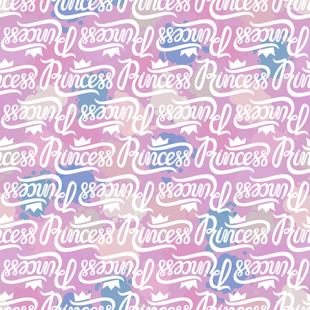 Princess Crown white. Seamless repeating pattern. Diadem princess isolated on pink spots background. Vector illustration lettering.