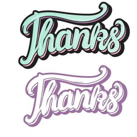 Thanks hand lettering inscription Vector illustration isolated on white background Illustration