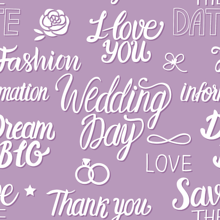 Wedding in a vintage Parisian style fashion. Seamless pattern with lettering inscription.