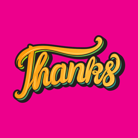 Card Thanks hand lettering inscription Vector illustration isolated on pink background