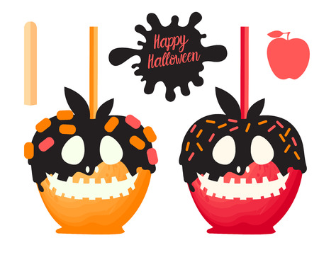 Red and orange Apple with caramel, chocolateSweet candy on sticks. Happy Halloween dessert. Vector illustration on white background.