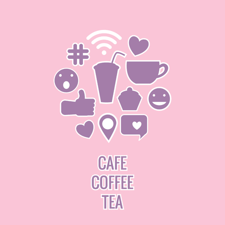 Set sign of cafe. Vector illustration of stickers isolated on a pink background.