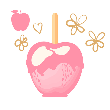 Cute Apple with pink caramel Sweet candy on sticks dessert. Vector illustration on white background.