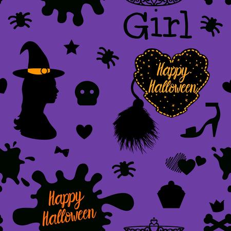 Seamless pattern Happy Halloween design. Vector illustration isolated on a purple background.