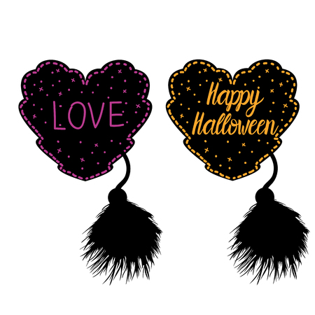 Decor in the style of a female costume for Happy Halloween. Heart lacy black with a fluffy brush. Vector illustration isolated on white background. Illusztráció