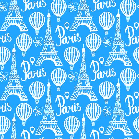 Vector Winter seamless pattern. Paris Eiffel Tower white illustration isolated on blue background. Illustration