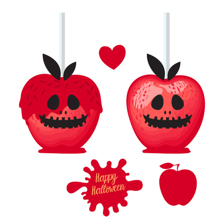 Set Apple with red caramel Sweet candy on sticks. Happy Halloween dessert. Vector illustration on white background.