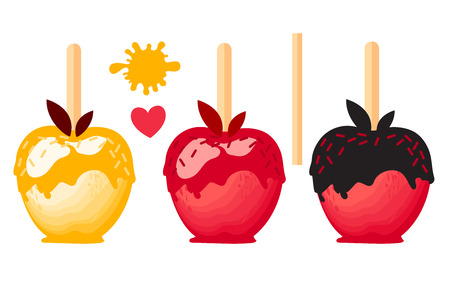 Apple dessert with color caramels in glaze. Sweet candy on sticks. Vector illustration on white background. Ilustração