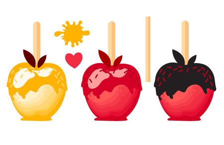 Apple dessert with color caramels in glaze. Sweet candy on sticks. Vector illustration on white background. Illustration