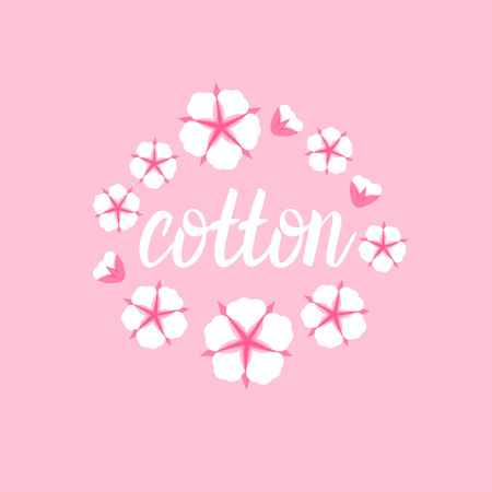 Cotton flower frame. Flat style on cute pink background. Vector illustration.