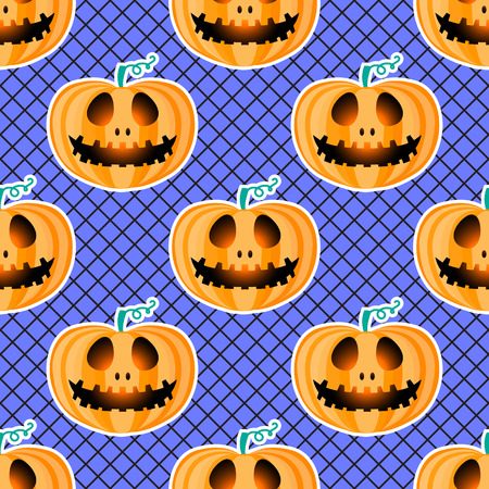 Happy Halloween jackolantern seamless pattern. Jack lantern with black fishnet tights. Fashion style. Vector illustration isolated on blue background. 向量圖像