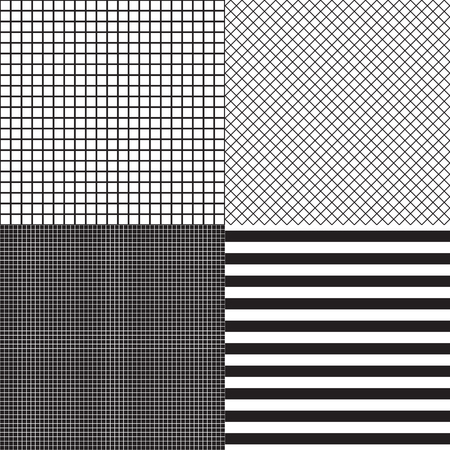 Black and white colors. Set of striped and grid cells seamless patterns. Vector fashion background templates.