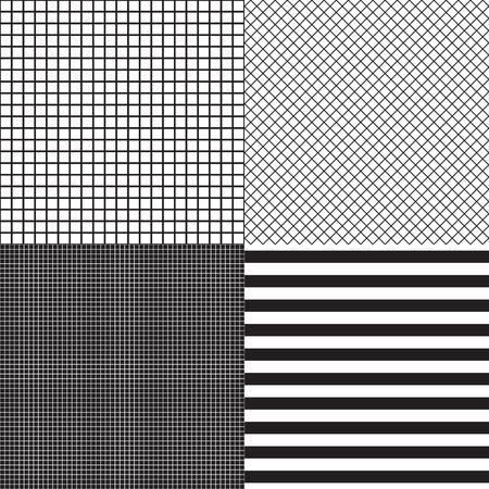 Schwarze und weiße Farben. Satz nahtlose Muster der gestreiften und Rasterzellen. Vektormode-Hintergrundvorlagen.