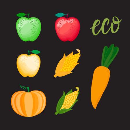 Set cartoon vegetables and apple. Corn pumpkin Vector illustration isolated on dark background. Ilustração