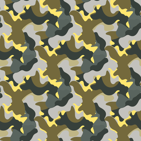Vector Camouflage green and gray and yellow color seamless pattern. Khaki repeat como Abstract background