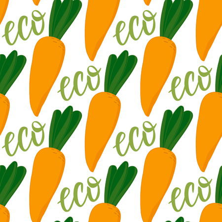 Cartoon carrot seamless pattern. Lettering Eco. Vector ilustration isolated on white background. Autumn seasonal eco vegetable design. Ilustração