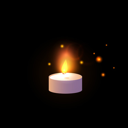 One Candle glowing. Vector illustration isolated on black background.