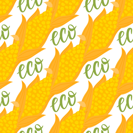 Cartoon ear of corn with grain seamless pattern. Lettering Eco. Vector ilustration isolated on white background. Autumn seasonal eco vegetable design. Banco de Imagens - 109813837