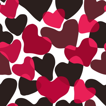 Vector Heart Camouflage Red color seamless pattern. Khaki burgundy repeat como Abstract background Ilustração