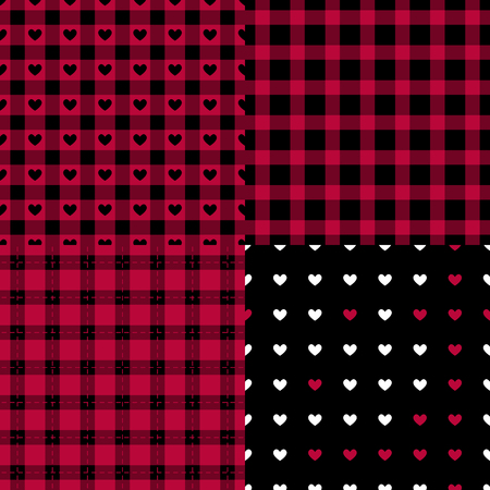 Set Abstract male style seamless pattern. Eastern Checkered black and red trend palette. Vector Fashion background.