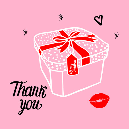 Fashion white illustration of a gift box with a red bow in the frame. Merry Christmas Thank you card. Vector illustration of a hand drawing isolated on pink background