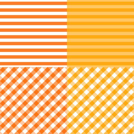 Vector Conjunto de patrones sin fisuras de celdas de cuadrícula rayada y diagonal. Naranja con colores amarillos. Plantillas de fondo abstracto.