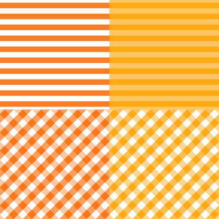 Vector Set of striped and diagonal grid cells seamless patterns. Orange with yellow colors. Abstract background templates.