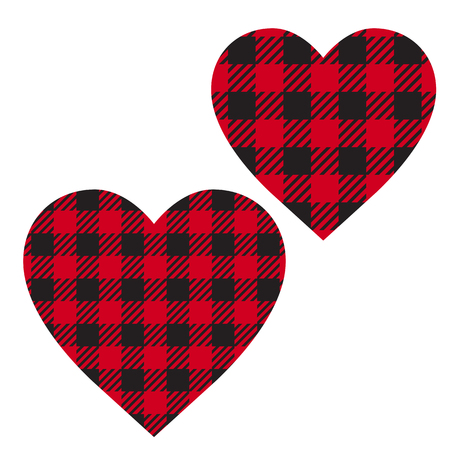 Vector Set Cell Heart backgrounds red and black color. Abstract checkered backdrop fashion cloth cage.