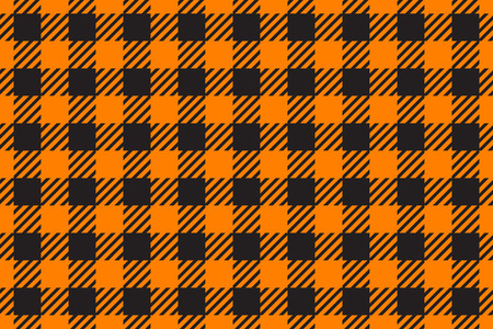 Vector Seamless pattern horizontal. Cell background orange color fashion cloth in a cage. Abstract checkered backdrop on dark.