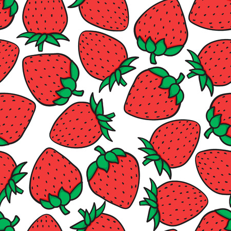 Hand drawing Strawberry Fashion seamless pattern isolated on white background. Vector illustration print design.