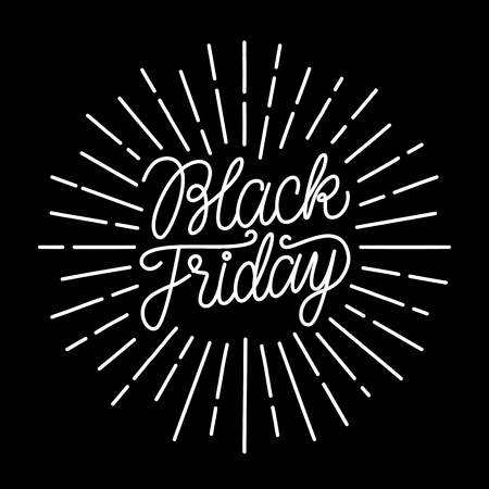 Black Friday line lettering handwritten text. with vintage rays. White vector illustration isolated on black background. Illustration