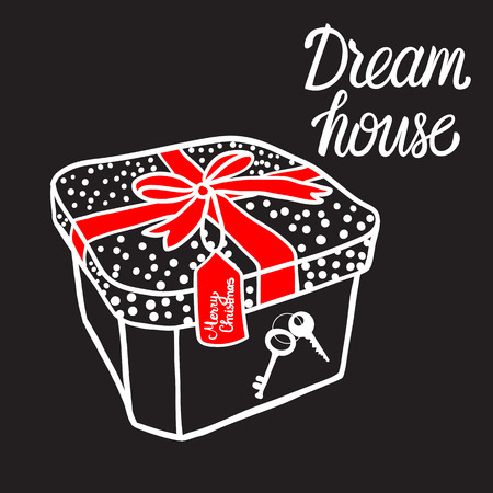 Gift box with key Dream house love Home. Black sign Vector illustration isolated on white background. For real estate business