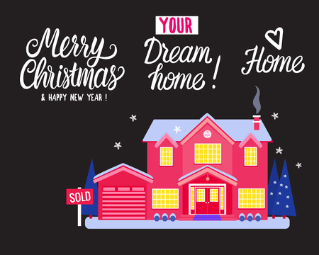 House two story cottage for sale. Sold sign. Flat Vector illustration on blue background. Winter magical night exterior. Merry Christmas and Happy New Year. Dream Home. Bright rich red color.