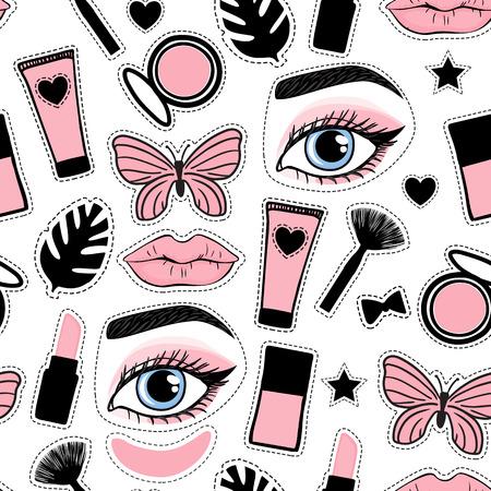 Nahtlose Muster-Mode-Stil. Stellen Sie Zeichen-Schönheits-Make-up für süße Mädchen ein. Abstrakte kosmetische Flaschen, Puder, Pinsel, Lippenstift, Patch-Handzeichnung. Vektorillustration wird auf einem weißen Hintergrund lokalisiert. Vektorgrafik