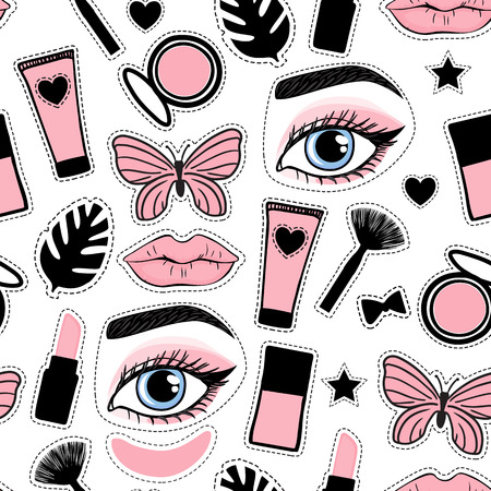 Seamless pattern fashion style. Set sign beauty makeup for cute girls. Abstract cosmetic bottles, powder, brush, lipstick, patch hand drawing. Vector illustration is isolated on a white background. Vektoros illusztráció