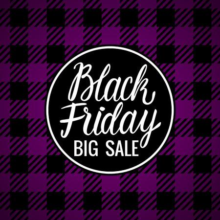 Vector Black Friday Lettering inscription card. Big Sale Design Hand drawn white illustration on checkered purple dark background.