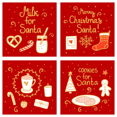 Milk and cookies for Santa. Merry Christmas Greeting Set card template. Vector illustration hand drawn nordic style on red.