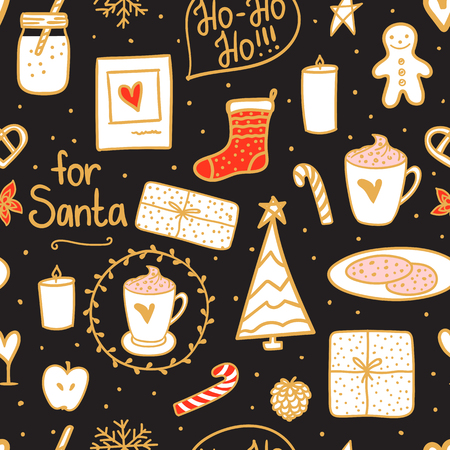 Night Merry Christmas seamless pattern. Holidays mood set: sock, gift, tree, candles, jar of milk, a cup cocoa and cookies for Santa. Hand drawn on dark background