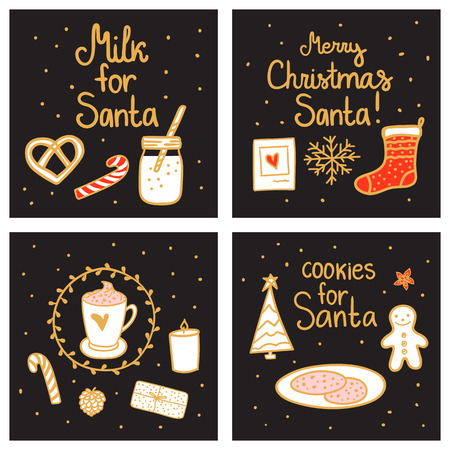 Milk and cookies for Santa. Merry Christmas magic night Greeting Set card template. Vector illustration hand drawn nordic style on dark background.