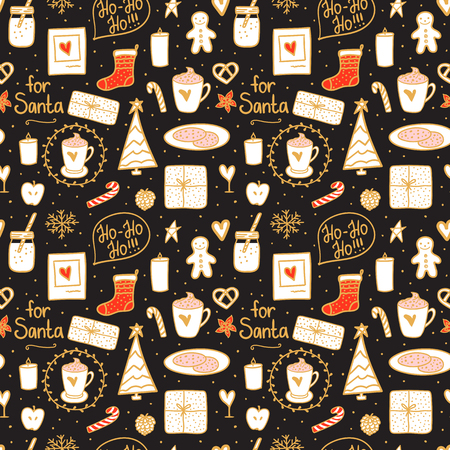 Cozy hand drawn seamless pattern texture. Milk cocoa and cookies for Santa. Vector set cute illustration concept Merry Christmas mood on black background.