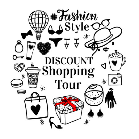 Banner Discount Shopping Tour. Round frame Fashion style black sketch illustration isolated oin white background