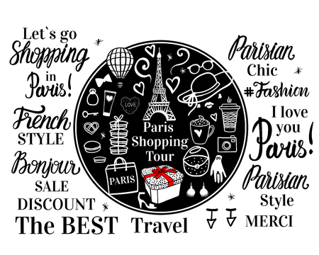 Big set Paris Fashion Shopping. Round black concept. Lettering inscription, sketch illustration, Eiffel tower, Womens accessories. Vector illustration isolated white background.