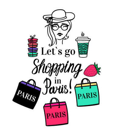 Lets go Shopping in Paris. Lettering type inscription. Vector Isolated fashion illustration with color. Girl with coffee to go cup, shop bag, hat, macaroon. Ilustrace